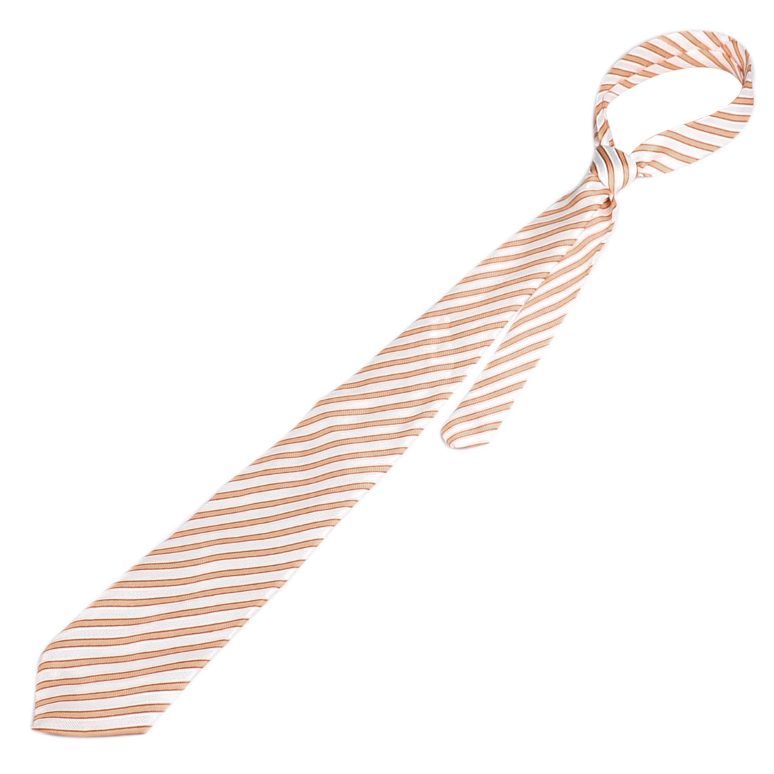 10cm Width White Dark Orange Stripes Pattern Neck Tie for Man