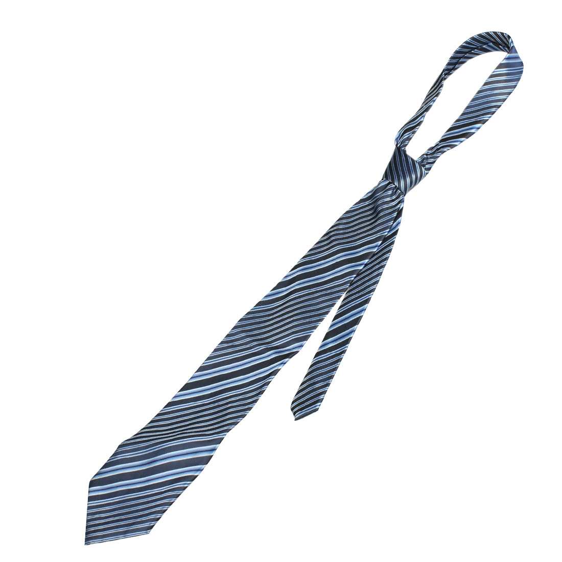 Men Blue Diagonal Striped Textured Necktie Neck Tie