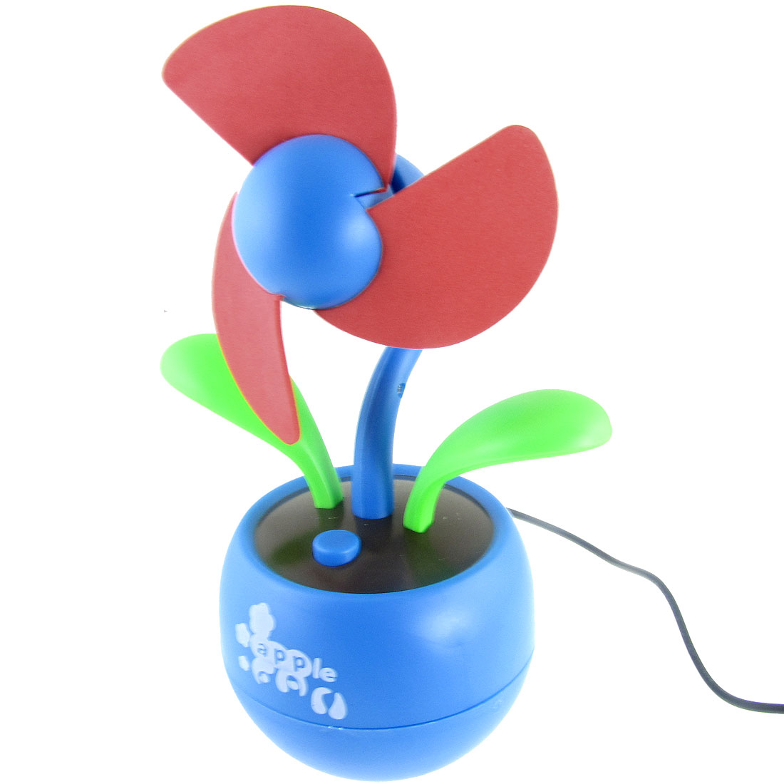Blue Red Apple Flower USB 3 AA Battery Soft Foam Desktop Fan