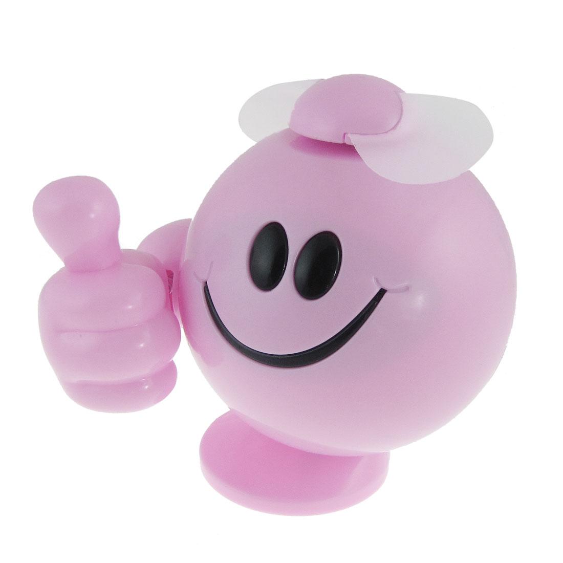 Cartoon Thumb Figure 2 AAA Battery Operated Mini Fan Pink
