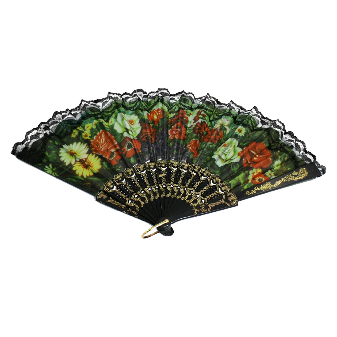 Colorful Floral Fabric Section Plastic Ribs Lace Decor Folding Hand Fan Black