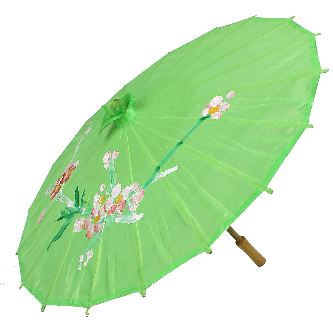 Bamboom Frame Painting Flower Pattern Green Dancing Parasol Umbrella