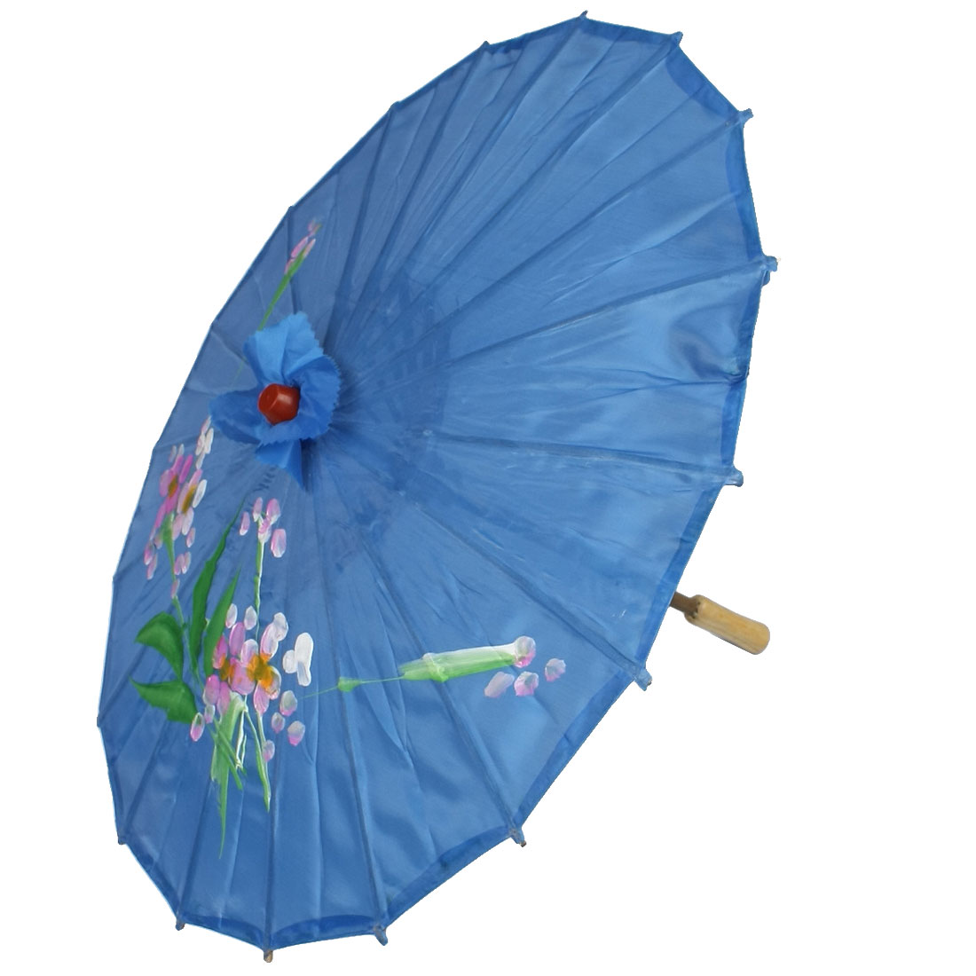 Wedding Bridal Decor Flower Painting Pattern Parasol Umbrella Blue 22 Inch