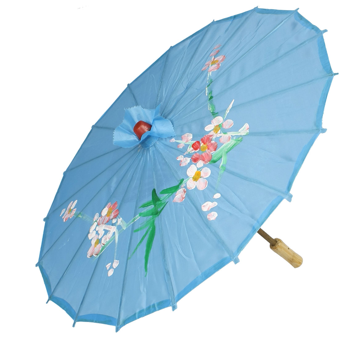 "22"" Open up Diameter Flower Pattern Sky Blue Cover Parasol for Costume Party"