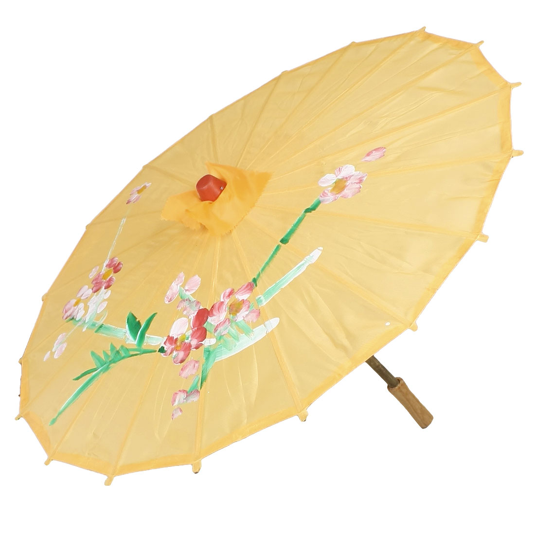Flower Printed Yellow Nylon Cover Bamboo Frame Dancing Parasol Umbrella 22""