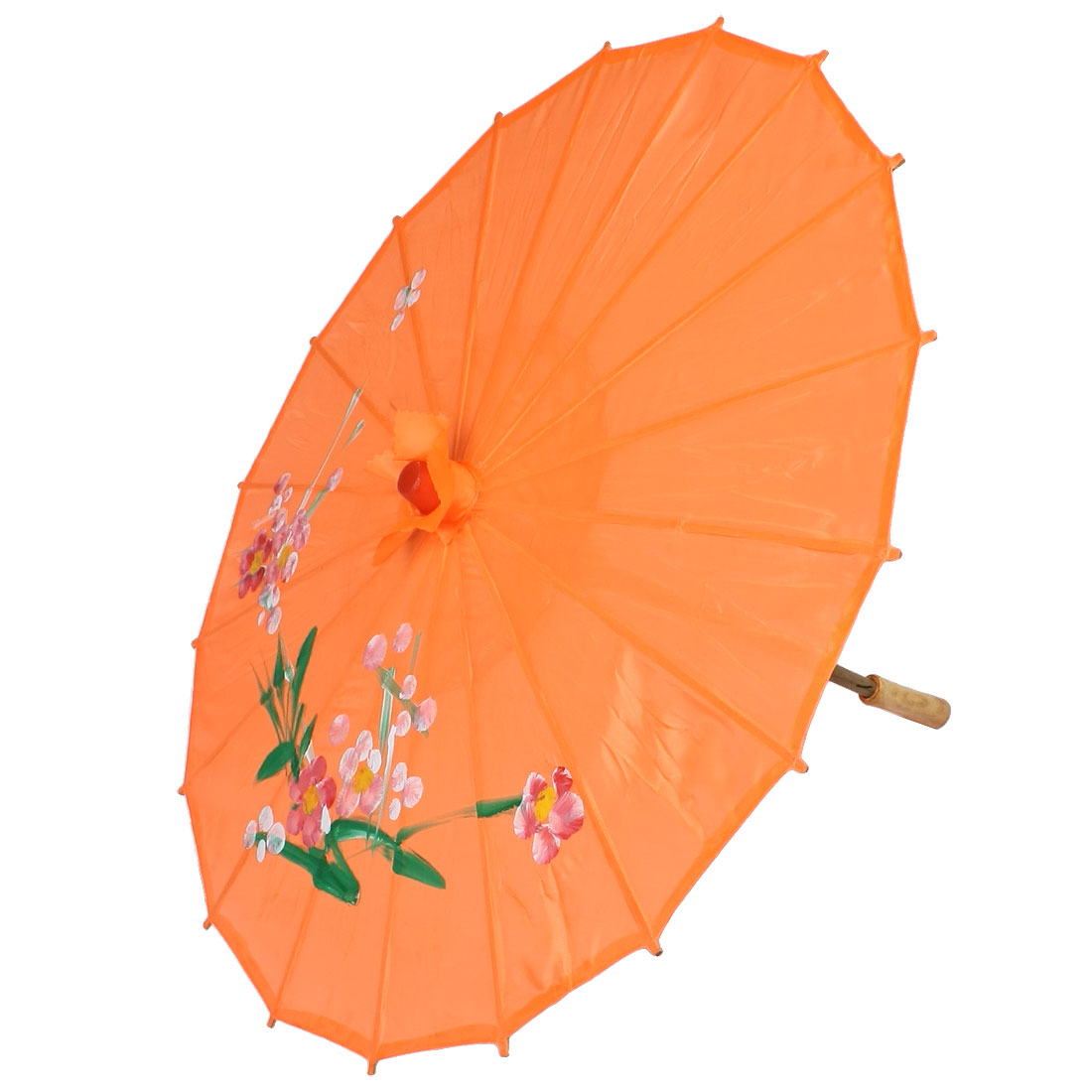 Bamboom Frame Flower Painting Parasol Orange 22 Inch for Wedding Costume Party