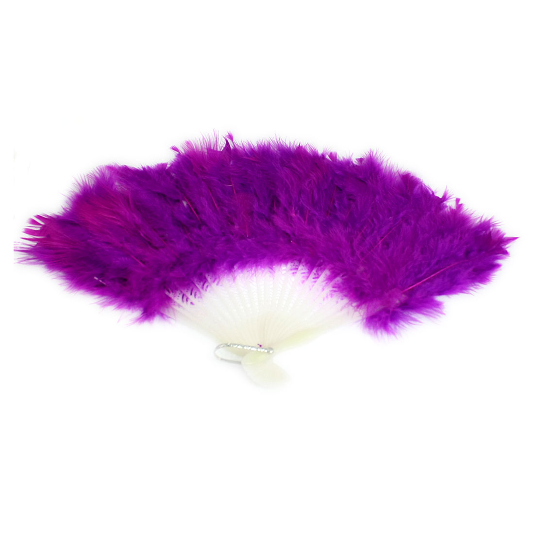 White Plastic Staves Purple Feahter Folding Hand Fan for Costume Party