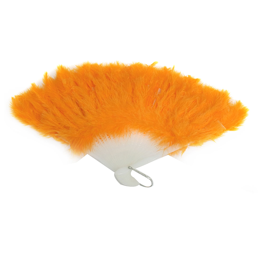 "16"" Open up Width Dancing Party Orange Feather Folding Hand Fan"