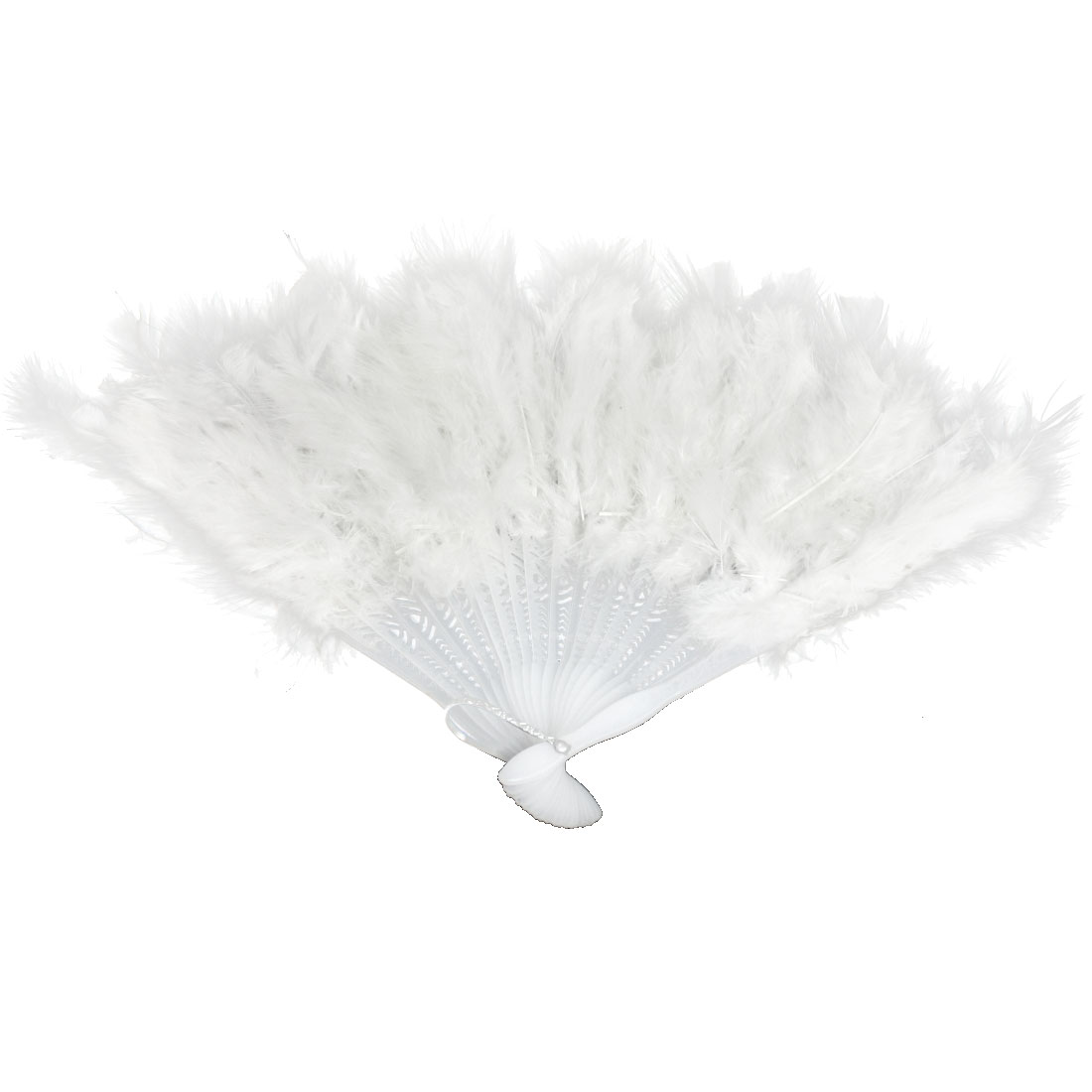 "10.4"" x 16"" White Fluffy Feather Fold up Hand Fan for Costume Party"