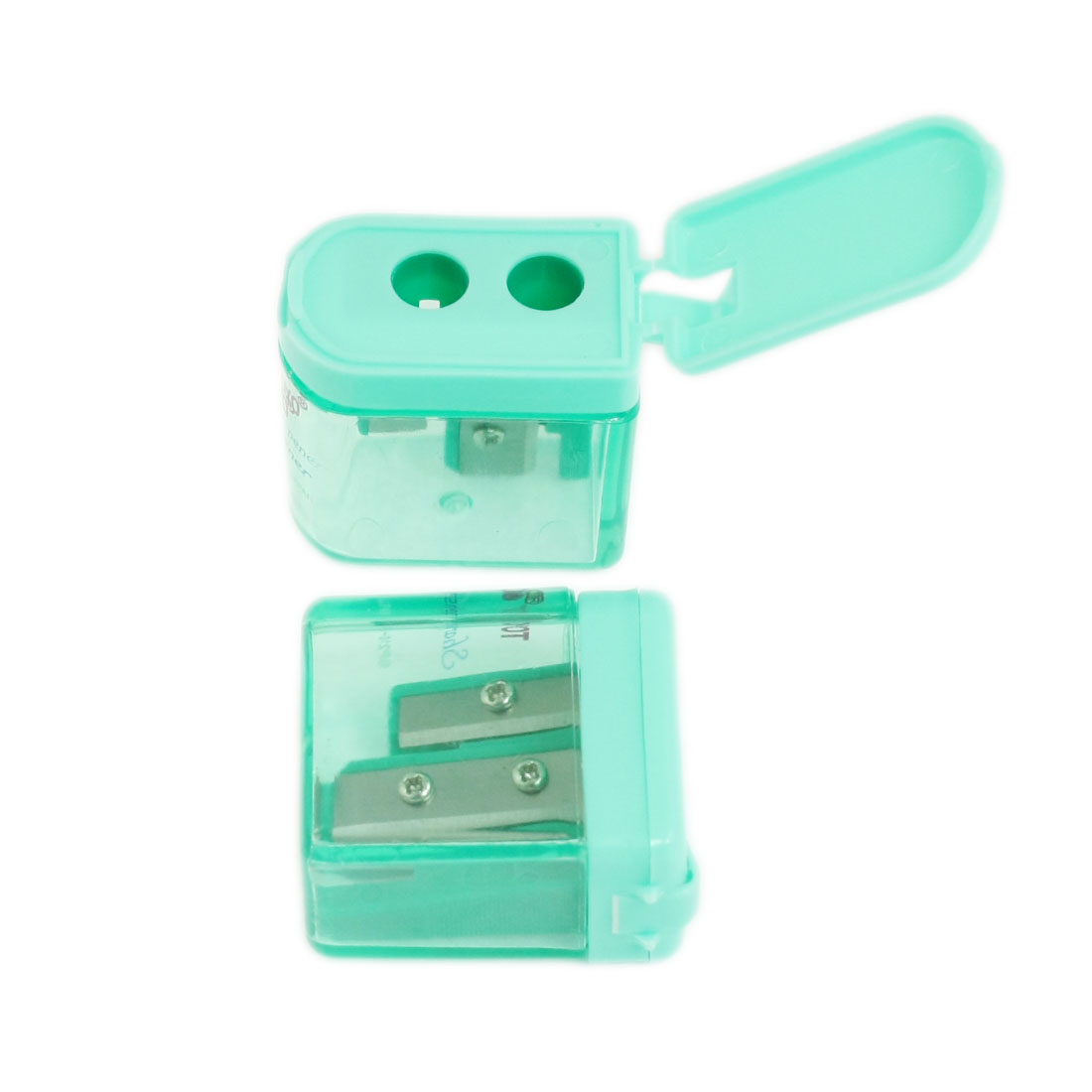 Flip Cap Dual Hole Plastic Pencil Sharpener Green 2 Pcs