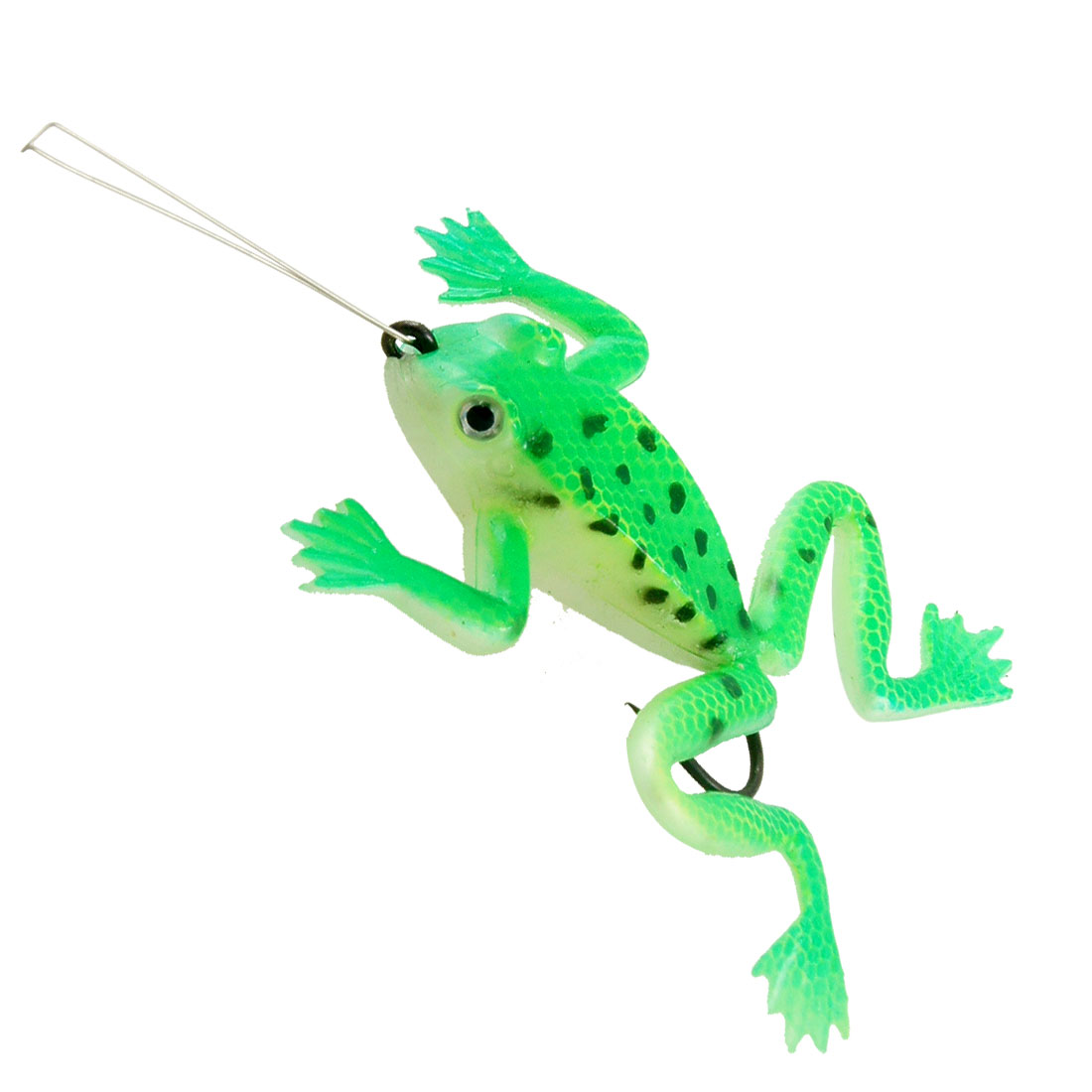 Emulational Soft Silicone Frog Green Fishing Bait w Metal Hook
