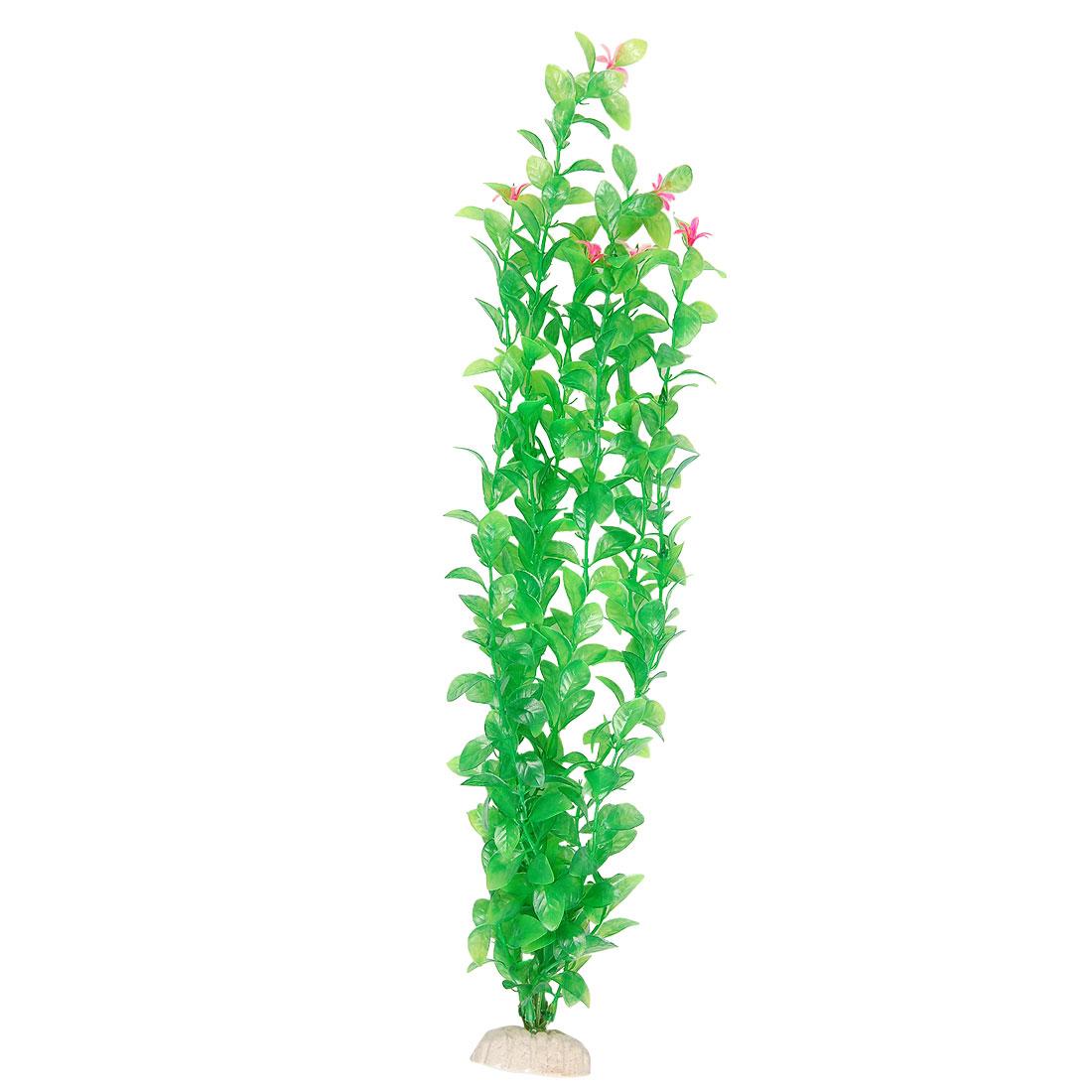 Aquarium Aquascaping Hot Pink Flower Green Leaf Plastic Plant Decor