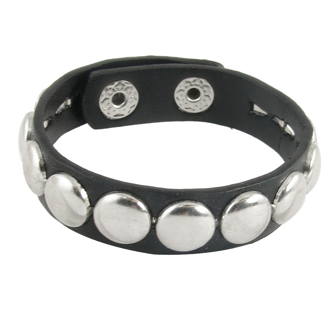 Woman Round Metal Studs Detailing Adjustable Faux Leather Bracelet Wristband