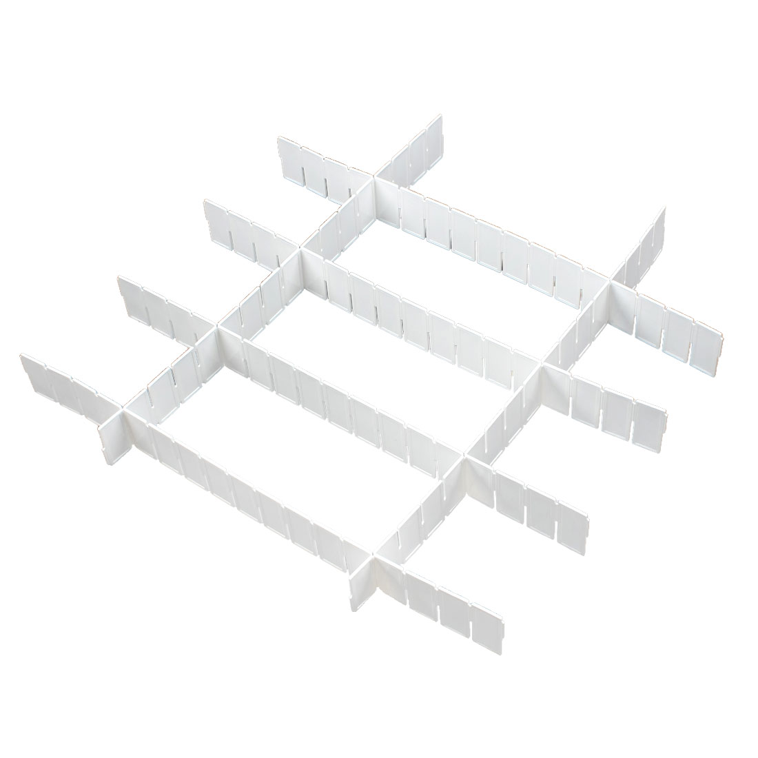 Home White Plastic DIY Grid Drawer Divider Storage Organizer