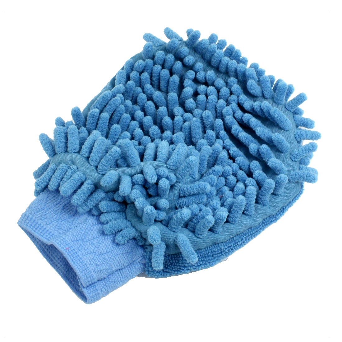 Car Washing Cleaning Elastic Cuff Microfiber Chenille Mitt Glove Blue