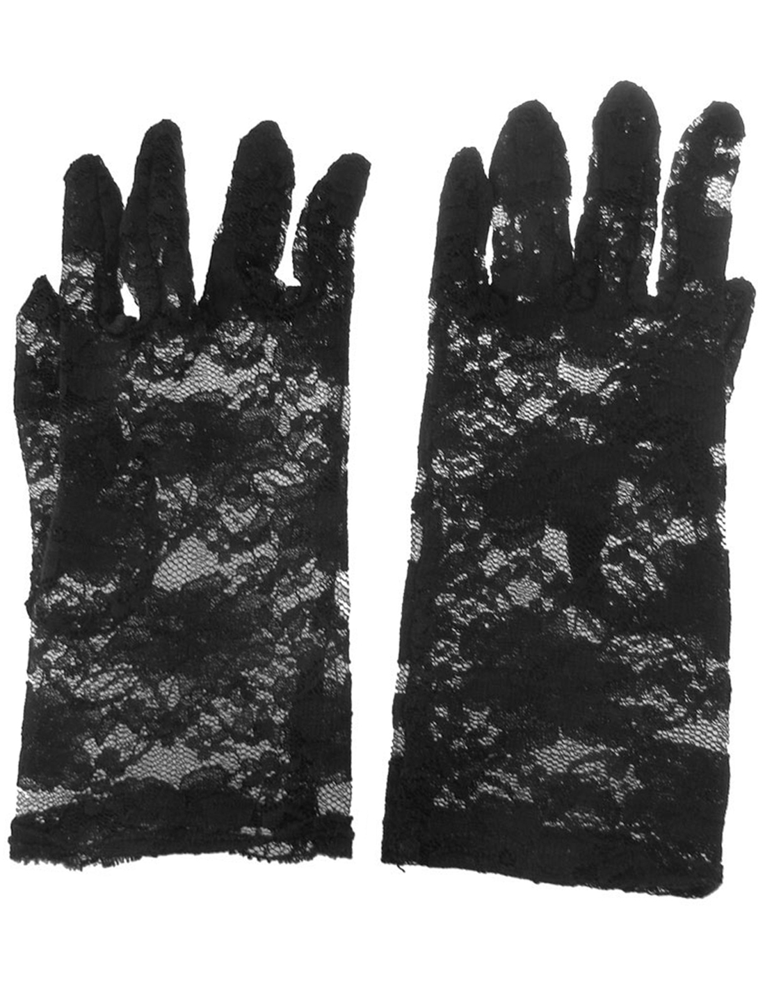 Lady Floral Lace Wrist Length Full Finger Gloves Pair Black