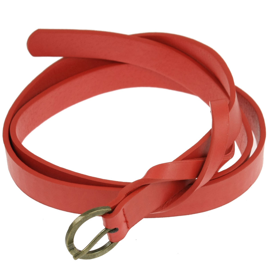 Woman Red Faux Leather Single Pin Buckle Adjustable Skinny Waist Belt Gift