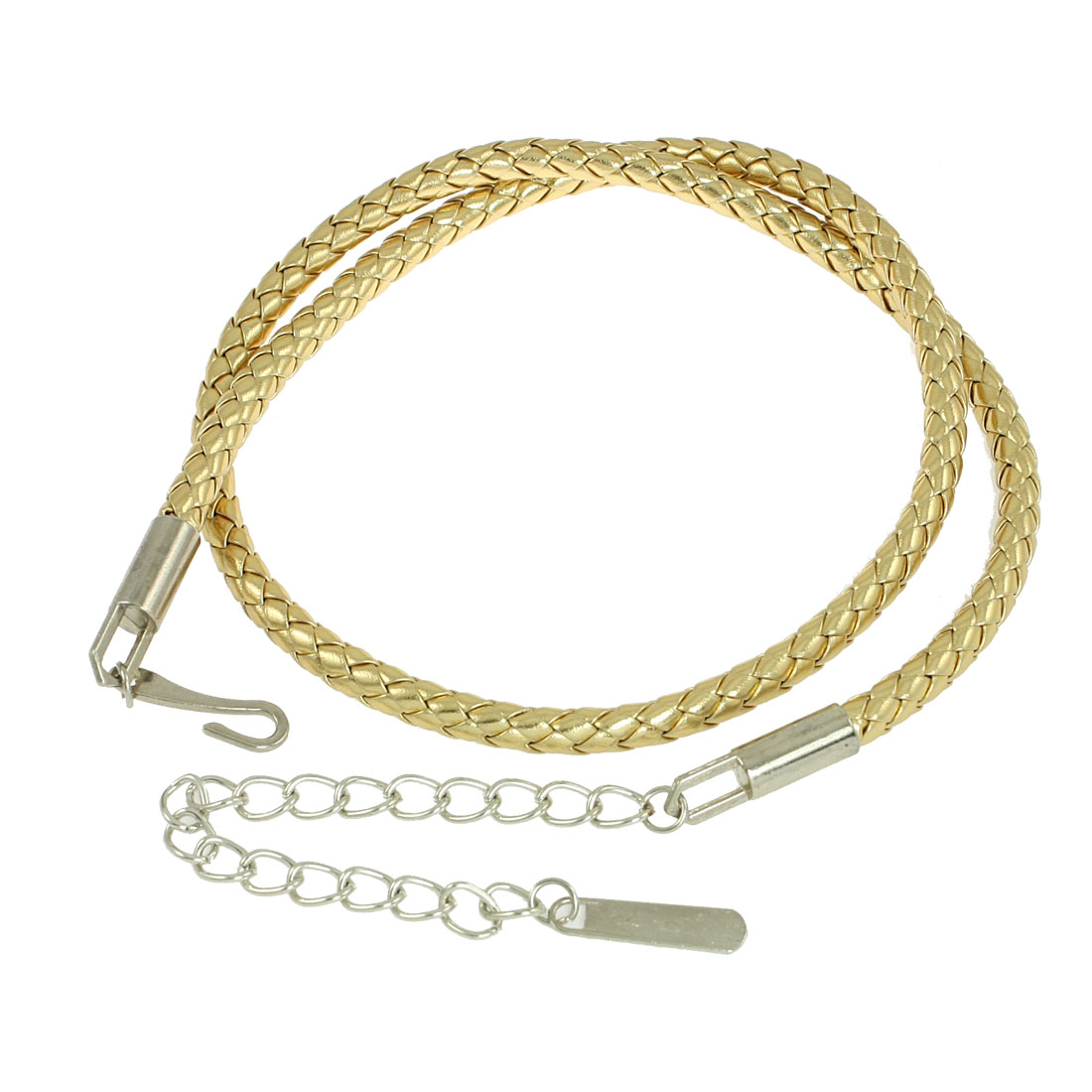 Gold Tone Faux Leather Braided Round Adjustable Skinny Waist Belt for Woman