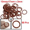 17mm x 2mm Silicone O Ring Oil Sealing Washers Grommets Red 50 Pcs