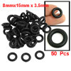 50 Pcs Black Nitrile Rubber O Ring NBR Seals Gaskets 15mm x 3.5mm