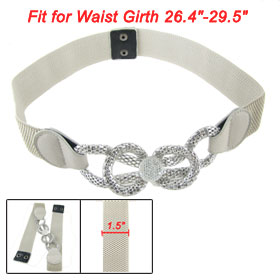 Plastic Crystal Decor Bowknot Design Press Stud Fasteners Stretch Cinch Belt Light Gray