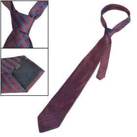 Dark Red Persian Blue Twill Stripe Pattern Neck Tie for Man