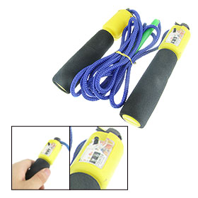 Black Foam Coated Yellow Plastic Handle Counter Skipping Jump Rope 102""