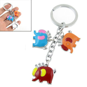 Blue Elephants Shaped Triple Pendants Decor Key Ring Keychains