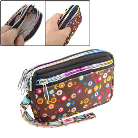 Women Colorful Flowers Prints 3 Compartments Design Zipper Closure Wallet Bag