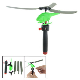 Green Plastic Pull String Assembled Helicopter Toy for Children w Black Launcher
