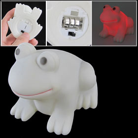 White Plastic Frog Shape Desktop Decoration Color Changing LED Light Lamp