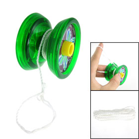 Butterfly Print Clear Green Plastic Yo Yo Toy for Child