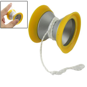 Yellow Silver Tone Round Wheel Yo Yo Toy for Children