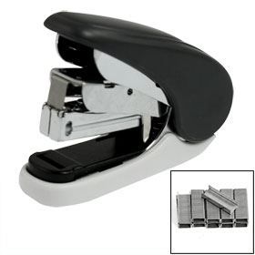 Portable Plastic Shell Paper Stapler Black w 1000 Pcs NO.10 Staples