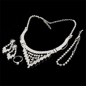 Ladies Silver Tone Necklace Bracelet Finger Ring Earrings Set