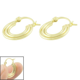 Women Gold Tone Metal Circles Pendant Hoop Earrings