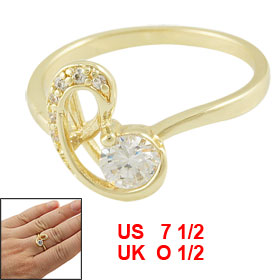 Lady Rhinestone Inlaid Gold Tone Finger Ring Jewelry US 7 1/2