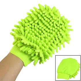 Yellow-green Microfiber Chenille Car Truck Wash Cleaning Mitt Brush Glove Towel