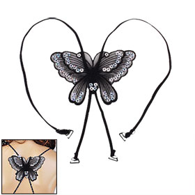 Sequins Butterfly Decor Racer Back Bra Strap Clip Replacement Black