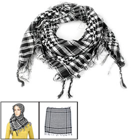 White Black Houndstooth Pattern Tassel Scarf Shawl for Woman