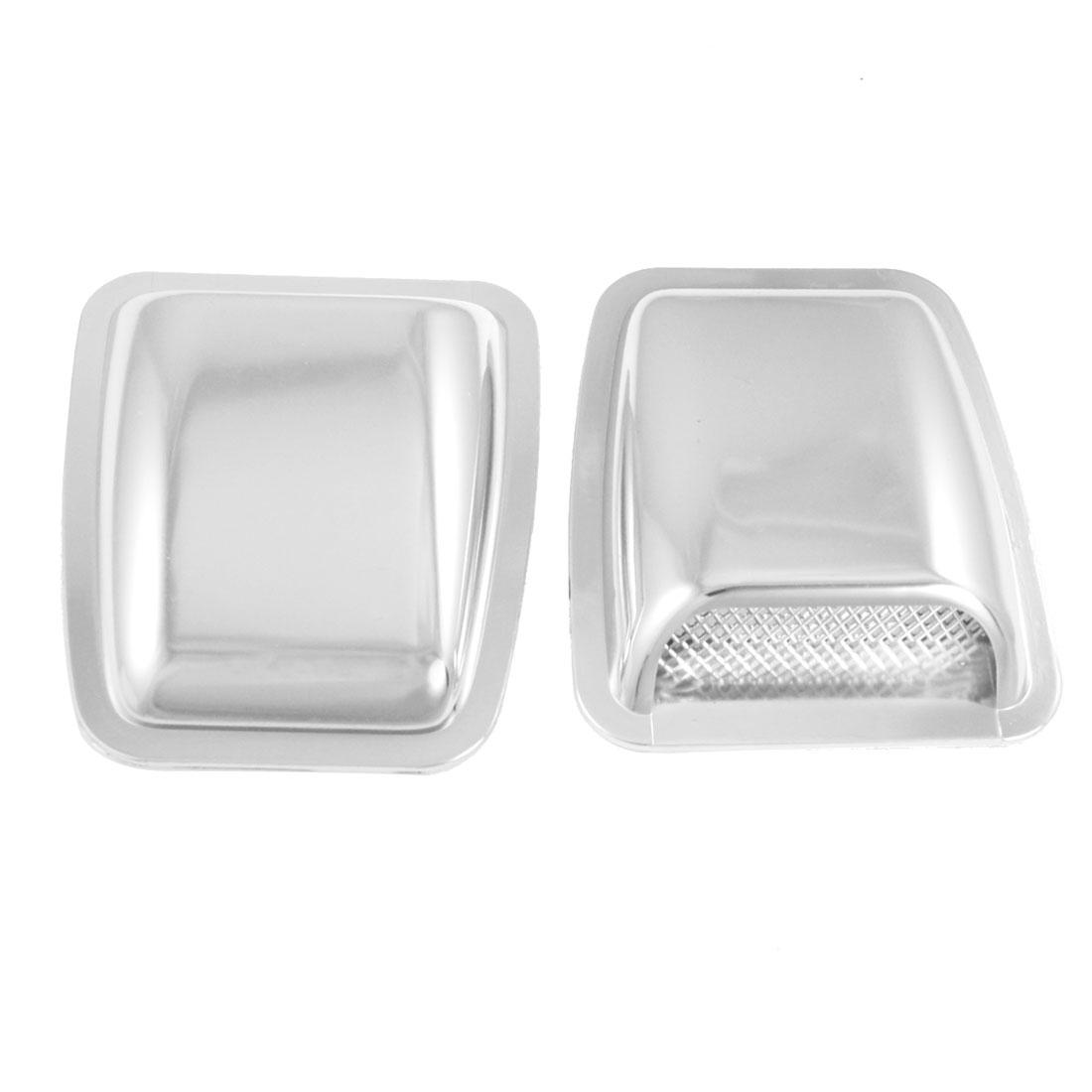 2 Pcs Auto Car Air Flow Vent Plastic Hood Scoop Decoration Silver Tone