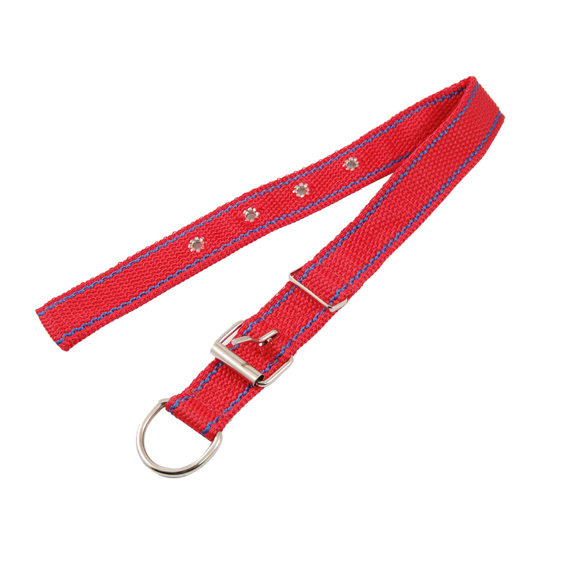 Single Prong Buckle Red Nylon Fabric Leash Adjustable Collar for Pet Dog