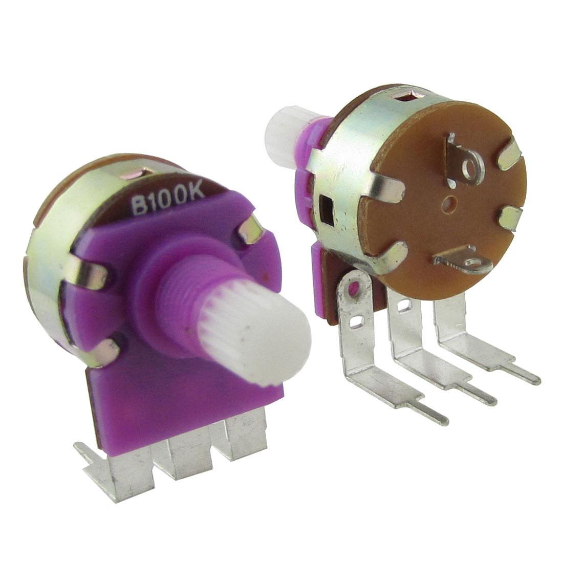 2 Pcs 0.2W 100Kohm Audio Carbon Film Potentiometer with Switch