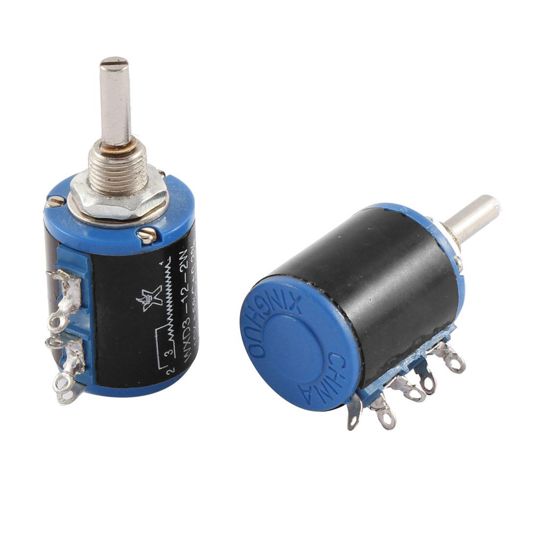 2 Pcs WXD3-12 2W 10K ohm Multi Turn Wire Wound Potentiometers Pots