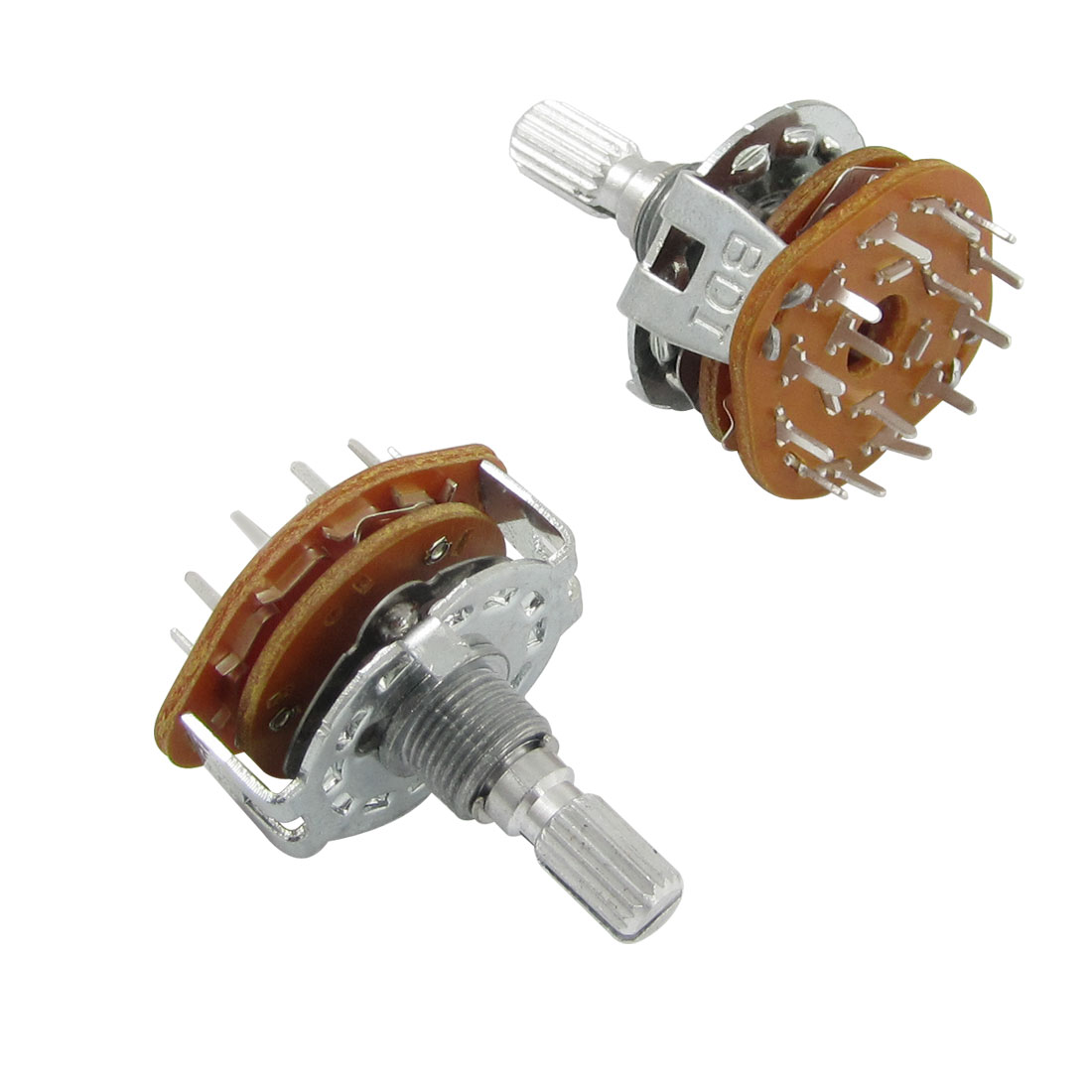 2 Pcs 6mm Split Shaft AC 125V 0.3A 250V 0.6A 3 Pole 4 Positions Rotary Switch