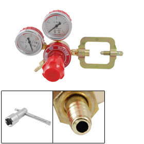 Gold Tone Red Acetylene Regulator w Dual MPa Scales Gauges