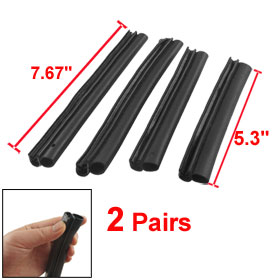 Vehicle Car Air Seal Strips Window Edge Guard Buffers 2 Pairs Black