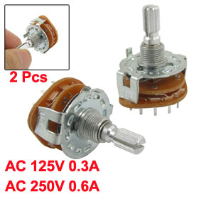 2 Pcs 6mm Split Shaft AC 125V 0.3A 250V 0.6A 4 Pole 3 Positions Rotary Switch