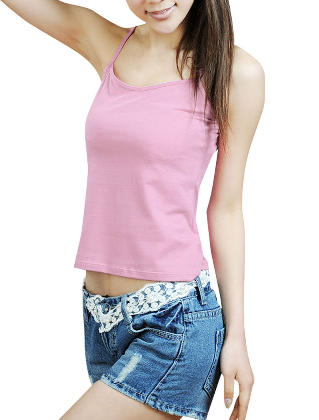Size XS Solid Pink Stretchy Basic Tank Top Cami Shirt for Ladies