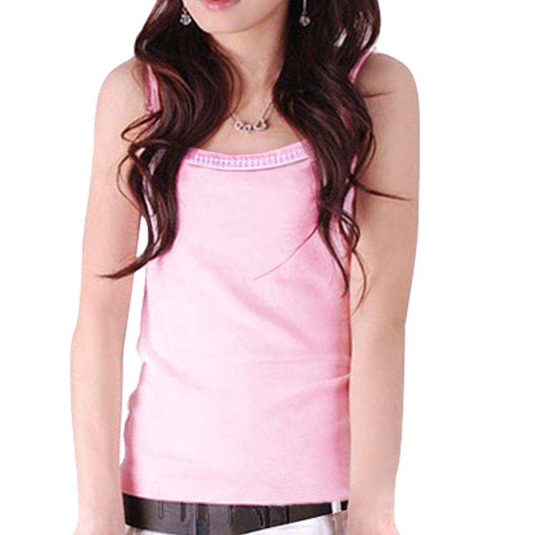 Woman Square Neckline Spaghetti Strap Summer Tank Top Pink XS